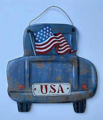 "New Wooden USA Flag Car Truck Rustic Red White Blue Wall Decor 11.8"" X 11.8"" • 10.85£"