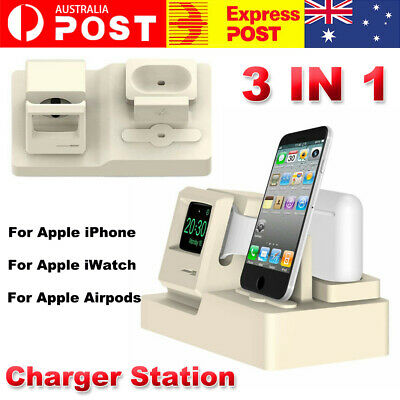 AU19.98 • Buy 3 In 1 Charging Dock Stand Holder Charger Station For Apple IPhone Watch Airpods