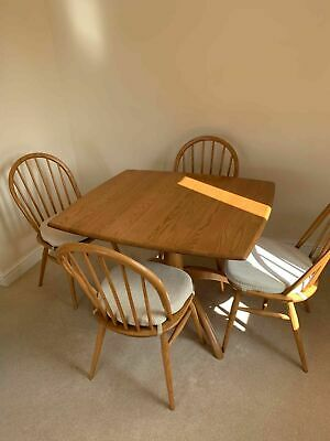 Small Ercol Chester Windsor Dining Extending Pedestal Table Ash 1192LT &4 Chairs • 900£