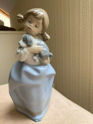 Nao By Lladro Figurine - Young Girl Holding Cute Puppy • 9.50£