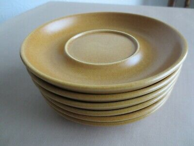 Langley Pottery 6 Cups & Saucers In Canterbury Gold Pattern • 21£