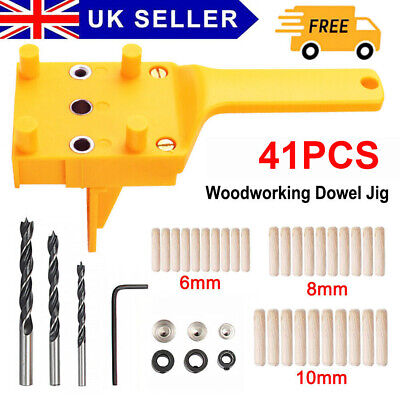 Handheld Woodworking Doweling Jig Drill Guide Wood Dowel Drilling Hole Saw Kit M • 8.29£