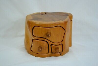 Hand Made Wooden Yew 3 Drawer Jewellery Box With Hidden Compartments • 7.99£