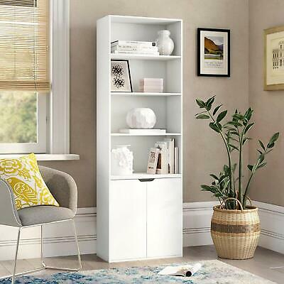 £82.99 • Buy White Large Bookcase Tall Wood Shelving Cabinet Storage Rack Solid Open Display