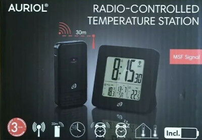 Auriol Radio Controlled Temperature Station With MSF Signal German Made  BLACK • 8.50£