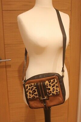 Hobbs Brown Leather / Leopard Print Shoulder Bag • 16£