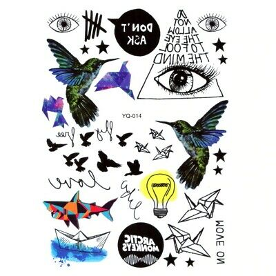 Drawing Body Temporary Tattoo Small Pictures Paper Bird Light Bulb /-m259-/ • 2.99£