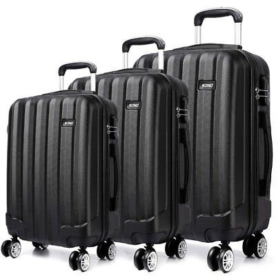 Black Hard Shell Cabin Travel Luggage Suitcase Trolley Spinner Case 20''24''28'' • 25.95£