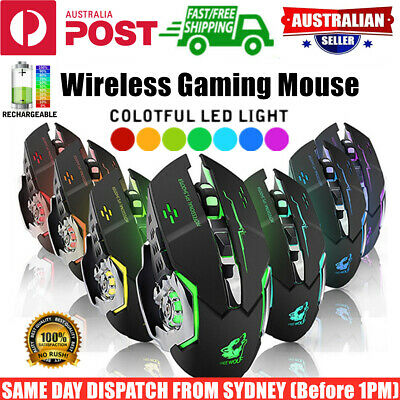 AU22.95 • Buy Wireless Gaming Mouse Ergonomic Optical RGB Backlit Recharge PC Laptop Desktop