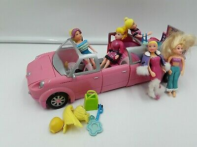 Mattel Polly Pocket Rock 'n Pop Convertible Stretch Limo Pink With 5 Dolls • 12£