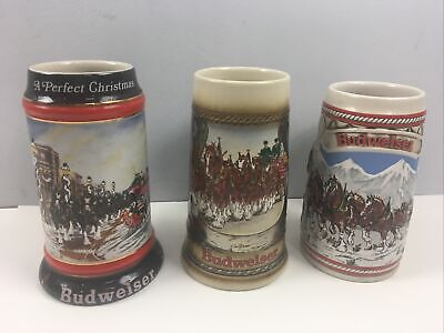 $ CDN37.88 • Buy 3 Budweiser Beer Clydesdale Steins Lot Of 3 Holiday Collectible 1990s Christmas