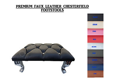 £39.95 • Buy Chesterfield Footstool Faux Leather Diamante Queen Anne Style Legs 10 Colours