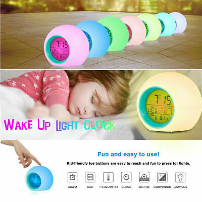 AU15.95 • Buy Alarm Clock Digital LED Thermometer Night Light Changing Clock Kid Glowing Home