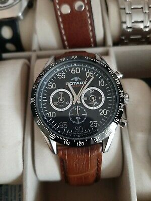 Rotary Aquaspeed Tachymeter Chronograph GS00012/19 Leather Strap Genuine • 14£