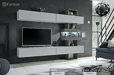Modern Wall Unit TV Display Stand Unit TOKYO Led Lighting Free P&P Push - Click • 529£