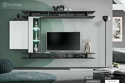 Modern Wall Unit TV Display Stand GAME High Gloss Led Free P&P Push - Click • 429£