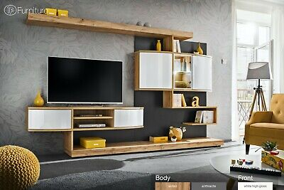 Modern Wall Unit TV Display Stand PALERMO High Gloss Led Free P&P Push - Click • 719£