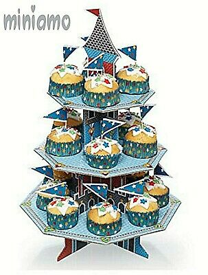 Cupcake Stand Cardboard Round Birthday Cake Display Tower 3 Tier Tea Party Treat • 2.99£