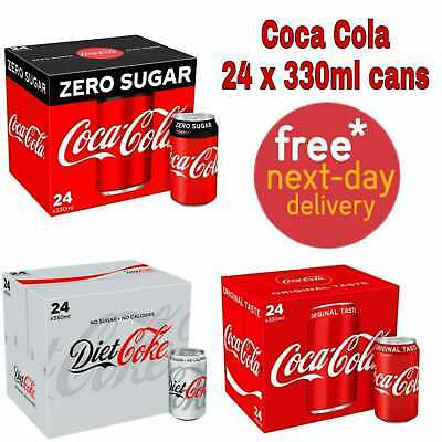 Coke Zero Sugar Diet Cock Pack Of 24 330 Ml Cans Fizzy Drink Coca-Cola Real Can  • 15.95£