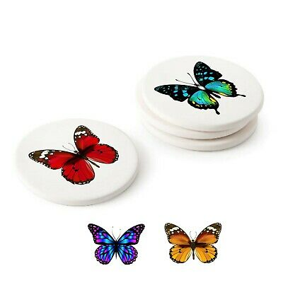 £12.95 • Buy Butterflies, Set Of 4 Round Ceramic Coasters. 110mm Diam. Butterfly Drink Mats.