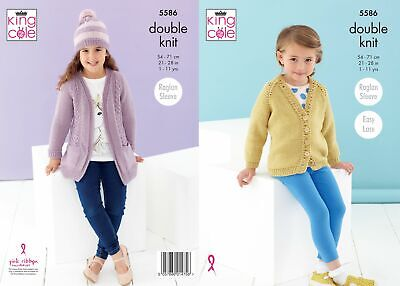 £3.95 • Buy King Cole Knitting Pattern Girls Cardigans And Hat - DK 5586 - Childrens