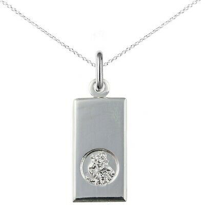 New Solid Silver St Christopher Ingot Pendant And Chain Jewellery • 23£