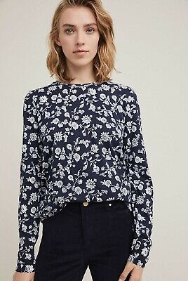 AU18.50 • Buy Witchery Long Sleeve Navy White Floral Top Blouse Size S Fit 10 - 12