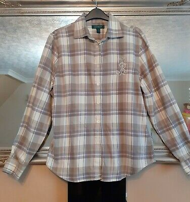 Ladies Ralph Lauren Check Shirt - Embellished LR - Size L • 9.50£