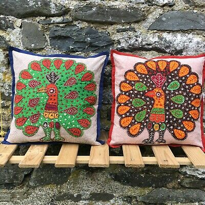 Peacock Patchwork Cotton Cushion Covers –Home Ethnic Hippy Boho Nomads Wales • 8.95£