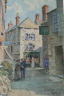 William A Moody. (1910 -1930's) Vintage Watercolour. St Ives Backstreet. • 118£