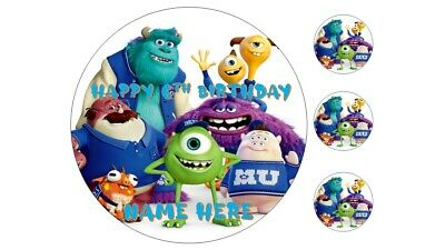 MONSTERS,INC.  PERSONALISED Edible Round Cake Topper On Wafer Icing On A4 • 4.29£
