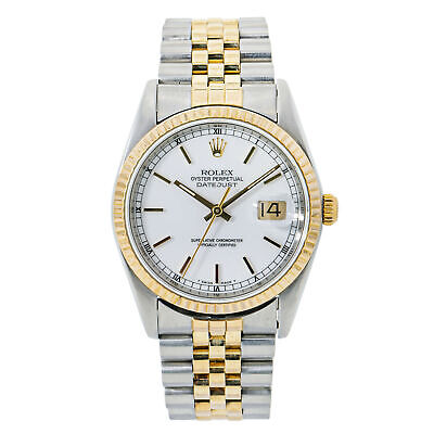 $ CDN6971.51 • Buy Rolex Datejust 16233 18K Two Tone Yellow Gold White Dial Men's 36mm