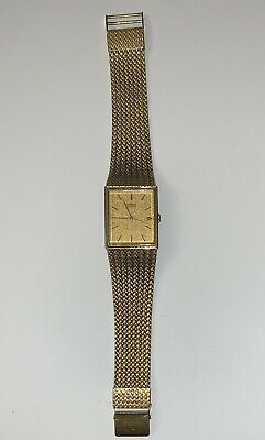 $ CDN51.28 • Buy SEIKO Quartz Vintage Mens Gold Tone Date Rectangular Watch 2A32-5019 Mesh