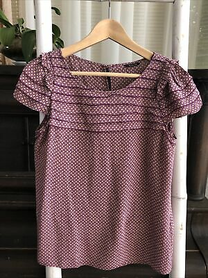 AU29.95 • Buy Sweet MASSIMO DUTTI 100% Silk Purple Print Top Blouse Size M S EUC