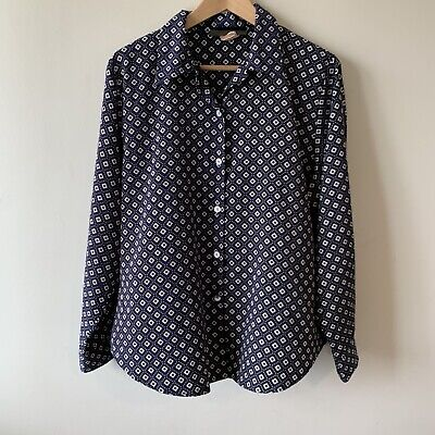 AU10 • Buy Vintage Katies Navy Diamond Patterned Button Up Shirt 90s Y2K Size 14