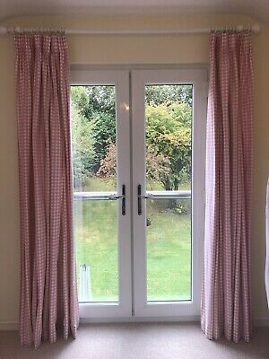 Pink And White Laura Ashley Gingham Curtains + Pole/Fixings • 4.60£