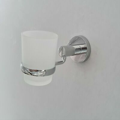 Mounted Bathroom Accessory Round Chrome Toothbrush Holder With Glass Cup Wall • 11.20£