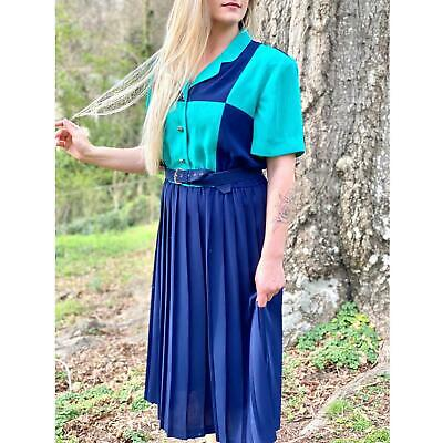 AU89.27 • Buy Vintage Dress, 70's Shirtwaist Dress | Vintage Pleated Dress, Vintage Clothing