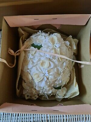 Vintage 1950/60 Floral Wedding Hat Netting Flowers Pillbox With Original Box • 20£