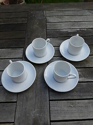 Esspress Coffee Cups And Saucers. Set Of 4, China/porcelain. White. Condition. • 6£