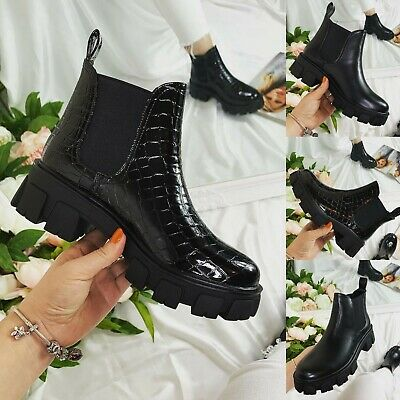 £20.99 • Buy Womens Ankle Boots Ladies Punk Flatform Pull On Chunky Heel Cleated Sole Shoes