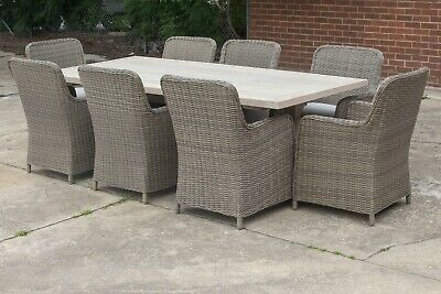 AU3999 • Buy Melania - Outdoor Dining Table - Solid Reclaimed Teak - 7 Or 9 Piece Setting