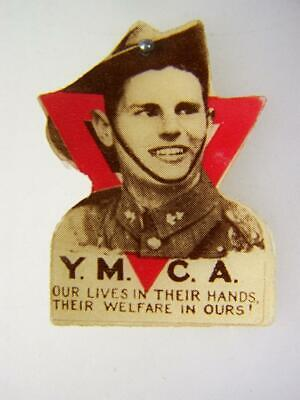 AU11.95 • Buy Vintage 1910s YMCA Card Donation Badge  Our Lives In Their Hands....        3981