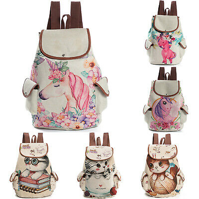 AU20.13 • Buy Ladies Women Girls Cat Unicorn Print Canvas Backpack Rucksack Travel School Bags