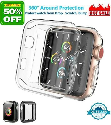 AU6.27 • Buy For Apple Watch Full Screen Protector TPU Clear Case 6 5 4 3 2 SE 40 44 38 42