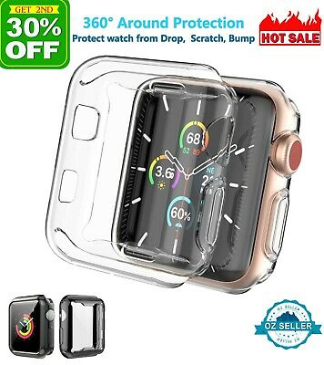 AU5.67 • Buy For Apple Watch Full Screen Protector TPU Clear Case 6 5 4 3 2 SE 40 44 38 42