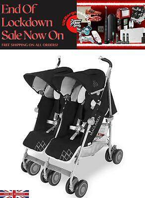 View Details Maclaren Pushchair Twin Techno Black Built For Comfort/Performance For 2 • 275.00£