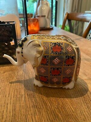 Royal Crown Derby Old Imari 10cm Elephant Paperweight Gold Stopper Excellent • 73£