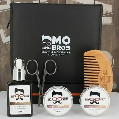 Beard & Moustache Travel Kit | Balm, Wax, Oil, Comb & Scissors | 2 Scents • 17.99£
