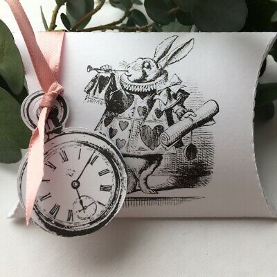 £3.75 • Buy 8  X Alice In Wonderland Pillow Boxes WHITE RABBIT Watch Ribbon Party Favour PB5